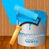 Remodeling Costs Showing House Remodeler 3d Illustration. Remodeling Costs Paint Showing House Remodeler 3d Illustration Royalty Free Stock Image