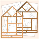 Remodeling house. One frame of the house with the blueprints in the background. Vector remodeling house. One frame of the house with the blueprints in the Royalty Free Stock Images