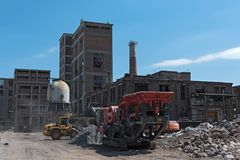 Remodeling and partial demolition of a former paper mill, cellulose factory hattersheim am main-okriftel, germany. Remodeling and partial demolition of a former royalty free stock images
