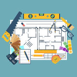 Remodeling plan, construction tools Stock Photo