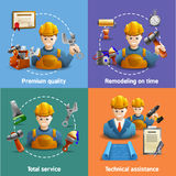 Remodeling service 4 flat icons square Royalty Free Stock Image