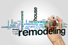 Remodeling word cloud. Concept on grey background Royalty Free Stock Photos