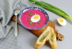 Remolacha fría de la sopa con el pan de cebolla Gray Background Imagenes de archivo