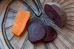 Remolacha y zanahoria cocinadas Imagen de archivo