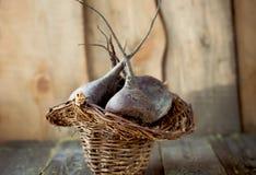 Remolachas frescas en una cesta Fotografía de archivo
