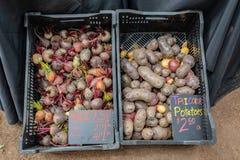Remolachas y patatas en la caja en el mercado foto de archivo libre de regalías