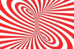 Remolina el ejemplo óptico de la trama de la ilusión 3D Ponga en contraste las rayas espirales rojas y blancas Imagen geométrica  stock de ilustración