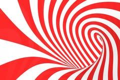 Remolina el ejemplo óptico de la trama de la ilusión 3D Ponga en contraste las rayas espirales rojas y blancas Imagen geométrica  libre illustration