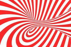 Remolina el ejemplo óptico de la trama de la ilusión 3D Ponga en contraste las rayas espirales rojas y blancas Imagen geométrica  ilustración del vector