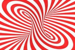 Remolina el ejemplo ?ptico de la trama de la ilusi?n 3D Ponga en contraste las rayas espirales rojas y blancas Imagen geom?trica  stock de ilustración