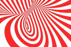 Remolina el ejemplo ?ptico de la trama de la ilusi?n 3D Ponga en contraste las rayas espirales rojas y blancas Imagen geom?trica  libre illustration