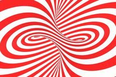 Remolina el ejemplo ?ptico de la trama de la ilusi?n 3D Ponga en contraste las rayas espirales rojas y blancas Imagen geom?trica  ilustración del vector