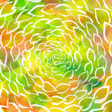 Remolino de las hojas de la acuarela colorido Imagen de archivo