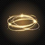 Remolino ligero Espiral brillante del resplandor Línea del círculo del oro Anillo mágico del fuego que brilla intensamente Rastro ilustración del vector
