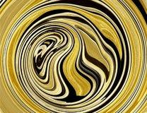 Remolinos abstractos amarillos de oro de la ronda Fotografía de archivo
