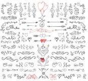 Remolinos del garabato, flechas, elemento de la decoración Sistema del amor Fotos de archivo