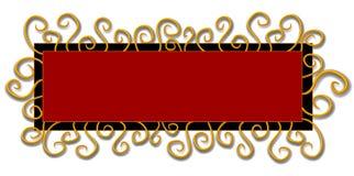 Remolinos del rojo del negro de la insignia del Web page ilustración del vector