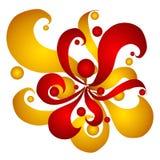 Remolinos y círculos del rojo del oro ilustración del vector