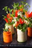Remontées pyramidales de courgette et de carotte Image libre de droits