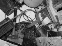 Remontowy budynek z narzędziami i młotem z muśnięciem, kielnią i kielnią, zdjęcie royalty free