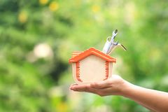 Remontowy utrzymanie, kobieta trzyma drewnianych narzędzia na naturalnym zielonym tle, Nowy dom i nieruchomość, domu i budowy, zdjęcie royalty free