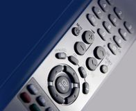 Remore control. Closeup of a grey tv remote control Royalty Free Stock Images