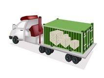Remorque à plat chargeant les caisses en bois dans l'escroquerie de cargaison Photo stock
