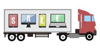 Remorque avec l'illustration de vecteur de vente de comprimé et de téléphone de promo Photographie stock libre de droits