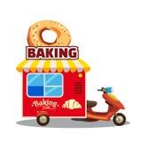 Remorque de caravane de nourriture de rue de boulangerie, camion, fourgon avec du pain frais, pain, baguette, bretzel, croissant  illustration libre de droits