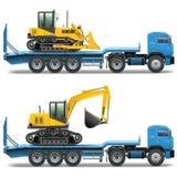 Remorque de vecteur avec le tracteur Photo stock