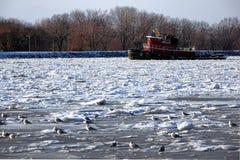 Remorqueur cassant la glace de flottement en rivière congelée Photographie stock