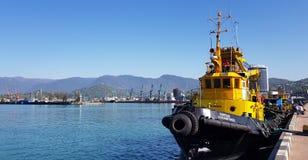 Remorqueurs attendant des bateaux Image libre de droits