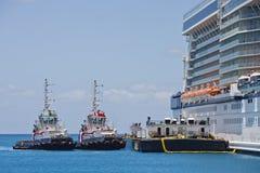 Remorqueurs et chaland par le bateau de croisière Photographie stock