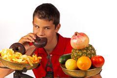 Remorse. Feeling pretty guilty about not sticking to healthy food Royalty Free Stock Image