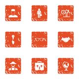 Remortgage the house icons set, grunge style. Remortgage the house icons set. Grunge set of 9 remortgage the house vector icons for web isolated on white vector illustration