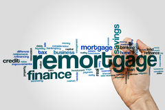 Remortgage word cloud. Concept on grey background royalty free stock photos