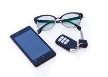 Remote автомобиля ключевой, стекла подбитого глаза, Smartphone, мобильный телефон Стоковое фото RF