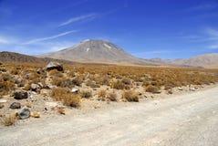 Remote, неурожайный вулканический ландшафт пустыни Atacama, Чили Стоковое Изображение