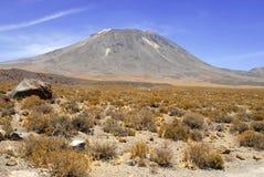 Remote, неурожайный вулканический ландшафт пустыни Atacama, Чили Стоковая Фотография