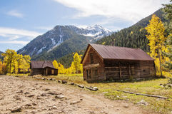 Remote and abandoned mountain ghost town Stock Images
