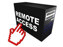 Remote access. Text in white over the side of a computer or server CPU cabin, with a hand icon reaching out, concept of remote server administration or client Stock Image