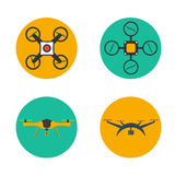 Remote aerial drone with a camera taking photography or video. Flat drones design. Set drones. Stock Image
