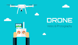 Remote aerial drone with a camera taking photography or video recording . Vector art on isolated background. Flat design. Royalty Free Stock Photos
