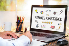 Remote Assistance Concept On Laptop Monitor Stock Photo