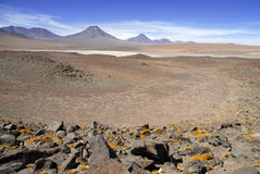 Remote, Barren volcanic landscape of the Atacama Desert, Chile. South America stock photos