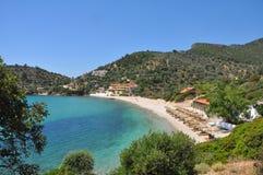 Remote bay on greek island Samos Stock Photos