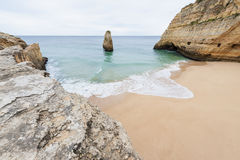 Remote beach in Algarve Portugal Stock Photos