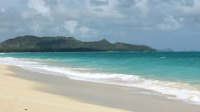 Remote Beach in Oahu, Hawaii with an Island View stock photography