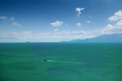 Remote boat. Distant remote boat in greece Stock Photography
