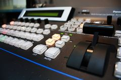 Remote broadcast on TV. Technology Stock Image